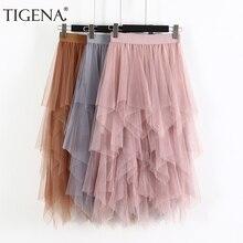 تنورة طويلة من قماش التول من TIGENA موضة 2020 للربيع والصيف ، تنورة طويلة بطيات عالية الخصر للسيدات ، تنورة مدرسية باللون الوردي والأبيض والأسود للشمس