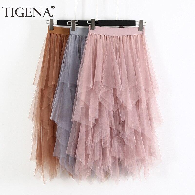 TIGENA Fashion Women Tulle Skirt Long 2019 Spring Summer High Waist Pleated Maxi Skirt Female Pink White Black School Skirt Sun
