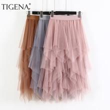 Tigena 긴 tulle 치마 여성 패션 2020 봄 여름 높은 허리 pleated 맥시 스커트 여성 핑크 화이트 블랙 스쿨 스커트 일