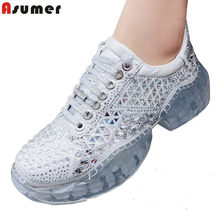 ASUMER 2019 New fashion genuine leather sneakers women casual shoes lace up rhinestone ladies shoes spring summer female shoes(China)