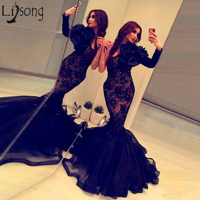 35023fd52513 Sexy Black Mermaid Evening Dress Long Sleeve Ruffle One Shoulder Lace Beads Chic  Prom Dresses Cheap Robe de soiree Abendkleider