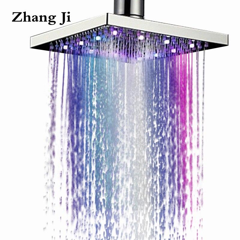 8 polegada Zhang Ji Cachoeira Cabeça de Chuveiro do DIODO EMISSOR de Luz Quadrado de Aço Inoxidável Chuveiro de Chuva Luz Colorida Chuveiro Pulverizador