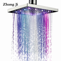 Zhang Ji Square 8 inch LED Light Waterfall Top Shower Head Rainfall Showerhead Colorful Light Stainless Steel Shower Sprayer