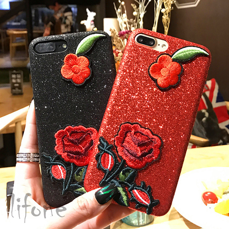 Kerzzil Fashion Handmade Flash powder embroidery Rose flower Hard Case For iPhone 7 6 6S Plus Phone  Cover Back lina(China)