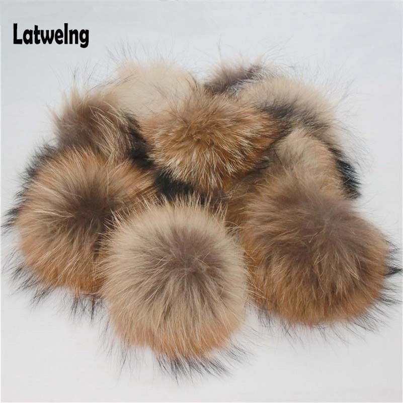 Wholesale 5 Pieces/Lot Large Raccoon Fur Pompom Winter Caps DIY 13cm-15cm Pompoms For Women   Beanies   Hats For Girls