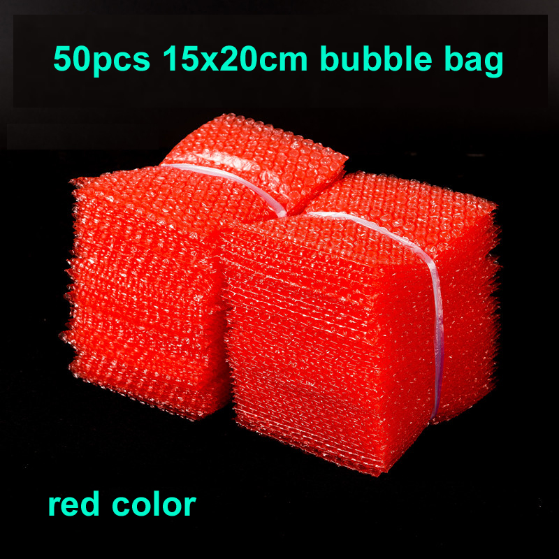 50pcs 15x20cm Red color Bubble Envelopes Food Grade Wrap Bags Pouches packaging PE Mailer Packing package