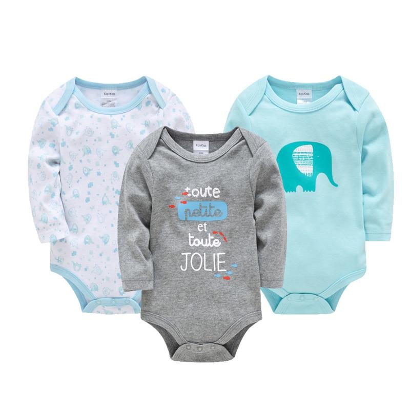 2019 KAVKAS Baby Boy Clothes Bodys Winter Baby Romper Newborn Wear Long Sleeve Jumpsuit Baby 100% cotton 3 piece set
