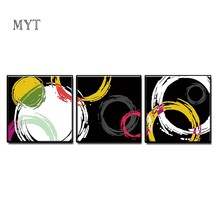 MYT 3Pcs As 1 Set 100% Handpainted Pictures Oil Painting on Canvas Posters Wall Art Wall Pictures For Living Room Home Decor(China)