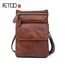 AETOO Leather casual shoulder oblique shoulder bag multi-functional pockets gloves head layer of leather men's models цена
