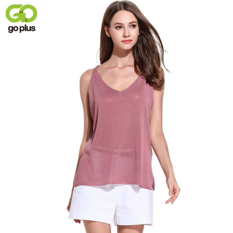 GOPLUS 2018 Sexy Summer Knitted Crop Tank Top Women V Neck Sleeveless T-shirt Female Long Plain top Vest Casual Camis Streetwear