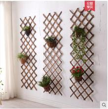 Solid wood grid is hanged wall flower wearing wall is hanged wall adornment suspends type flowerpot to wear hanged man the exp
