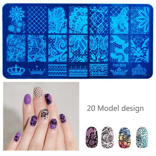 Stainless Steel Nail Art Stamping Plates Geometric Patterns Monroe