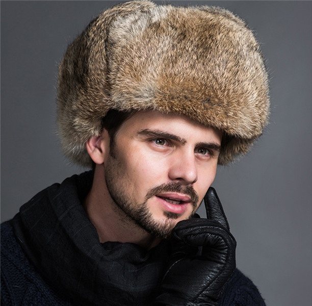 Naiveroo, мужские зимние теплые шапки-бомберы из искусственного меха, черные, коричневые однотонные утолщенные шапки-ушанки, зимние шапки Leifeng, теплые шапки - Цвет: Khaki