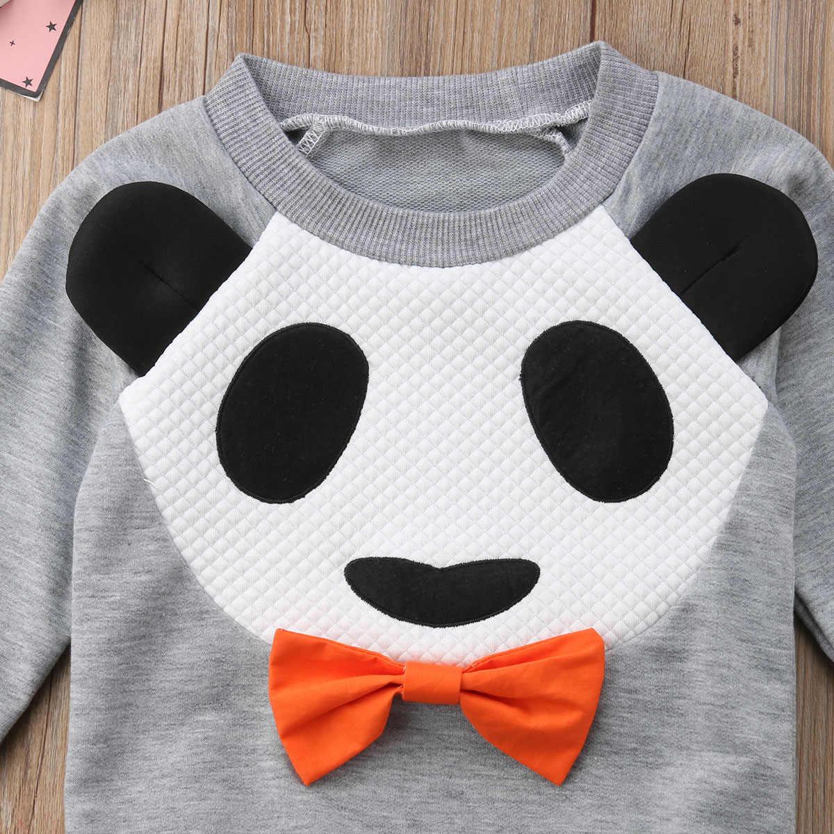 213dd8fe16e20 Toddler Kids Baby Girl Long Sleeve Panda Dress 1-5Y