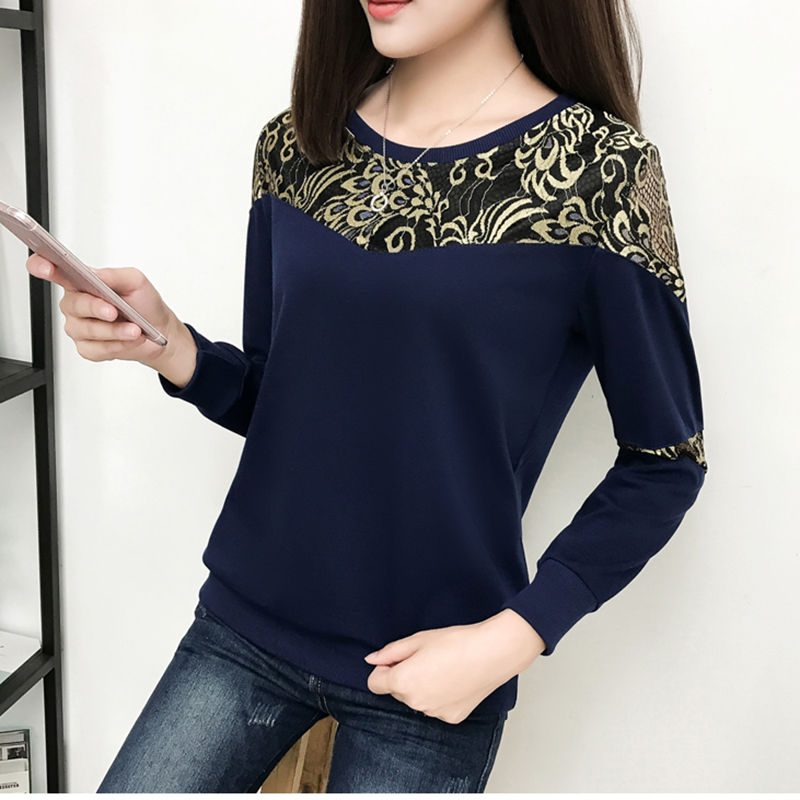shintimes Blusas Mujer De Moda 2018 Chemisiers Et Blouses Femme Korean Ladies Tops Geometric Spliced Plus Size Shirt Women