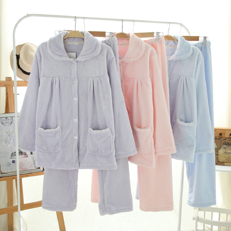 2017 Thick Warm Flannel Sleepwear Winter Women pijama Female Home Clothing pure color 2pcs Autumn pyjamas long sleeve bottoms ...