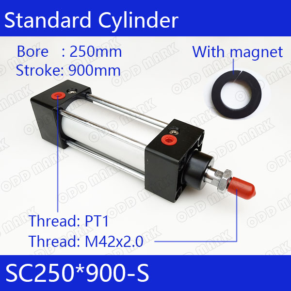 SC250*900-S 250mm Bore 900mm Stroke SC250X900-S SC Series Single Rod Standard Pneumatic Air Cylinder SC250-900-S sc63 400 s 63mm bore 400mm stroke sc63x400 s sc series single rod standard pneumatic air cylinder sc63 400 s
