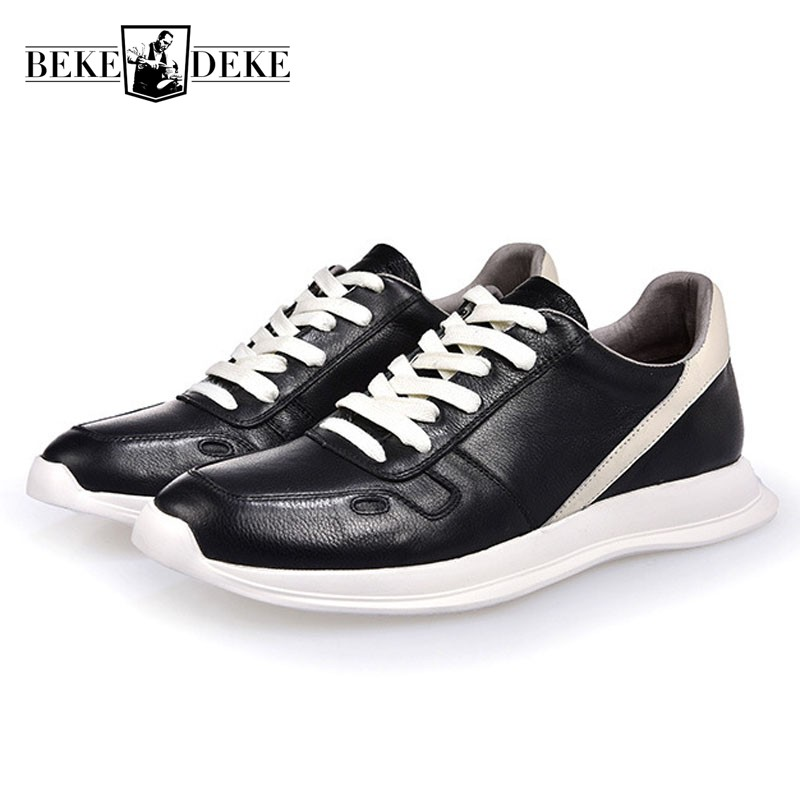 Korean New Mens Casual Shoes Men Top Brand Hip Hop Lace Up Genuine Leather Sneakers Footwear Male Platform High Street Footwear adboov fashion camo sneakers men hip hop shark low top skateboarding shoes lace up street leather casual shoes flats