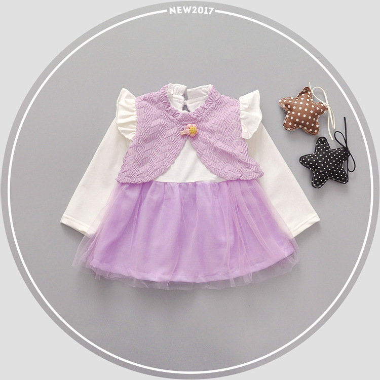 ФОТО 2017 Spring and Autumn New Baby Children's Dress Girls Dress Girls Leisure Tide YD115