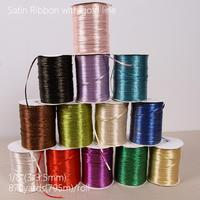 870 Yards 795 Meters Silk Satin Ribbon with gold 3mm Wedding Party Decoration Gift Wrapping Christmas New Year Decor Supplies