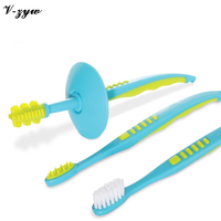 3 Pcs Sets Baby Soft Bristled Toothbrush For Children Cute 3 In 1 Infant Training Toothbrush