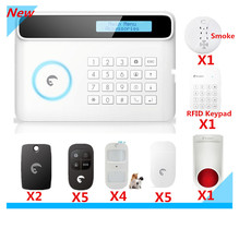 DHL Free Delivery Wi-fi PSTN/GSM Sensible House Safety Alarm system GSM Alarm system with LCD show 10 language menu help