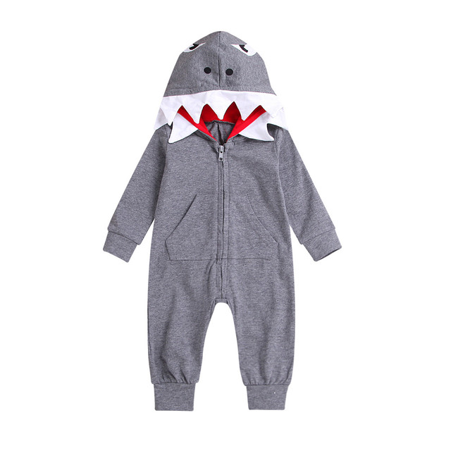 b79382422c4f toddler Shark Animals Rompers Infant Baby Boy Girl 3D Cartoon Shark Hooded Romper  Jumpsuit Zipper Clothes