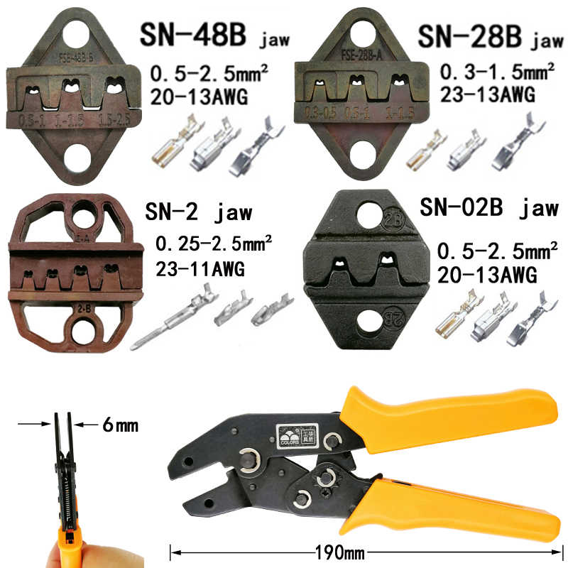 COLORS crimping pliers jaw (jaw width 6mm/pliers 190mm) for TAB 2.8 4.8 6.3/C3 XH2.54 3.96 2510 plug spring SN-48B SN-28B SN-2