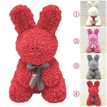 40*28*30 CENTIMETRI Artificiale della Rosa Coniglio Rosa Orso Bambole di Nozze San Valentino Di Compleanno Fidanzata Simulato Regalo Di Natale presente