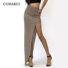 22ddf47a56 CUHAKCI Hot Sale 2018 New Fashion Charming Sexy Women Lady Long Skirts Open  Side Split Skirt Long Maxi Skirt Black Khaki S M L