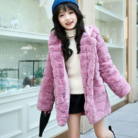 faux fur hooded long winter jackets for girls 2018 kids character gray warm coats girl children outerwear jackets clothing