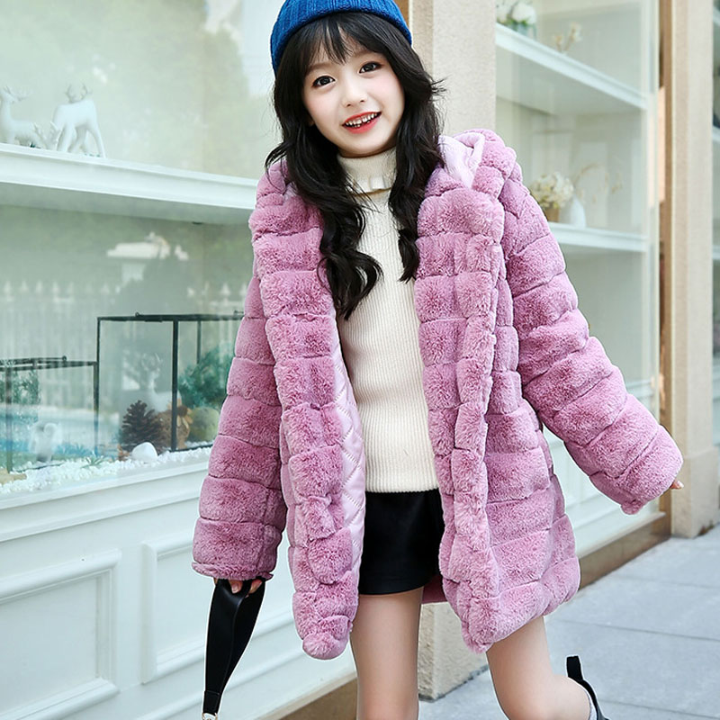 купить faux fur hooded long winter jackets for girls 2018 kids character gray warm coats girl children outerwear jackets clothing по цене 2870.85 рублей
