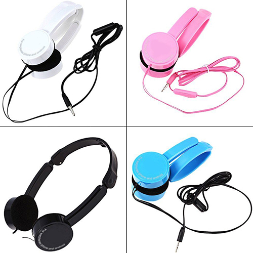 Retractable Foldable Over-ear Headphone Headset with Mic Stereo Bass for Kids