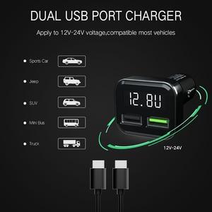 Image 5 - KEBIDU سيارة شاحن يو اس بي شاحن سريع 3.0 الهاتف المحمول شاحن 2 منفذ USB سريع شاحن سيارة مع LED ل فون سامسونج اللوحي