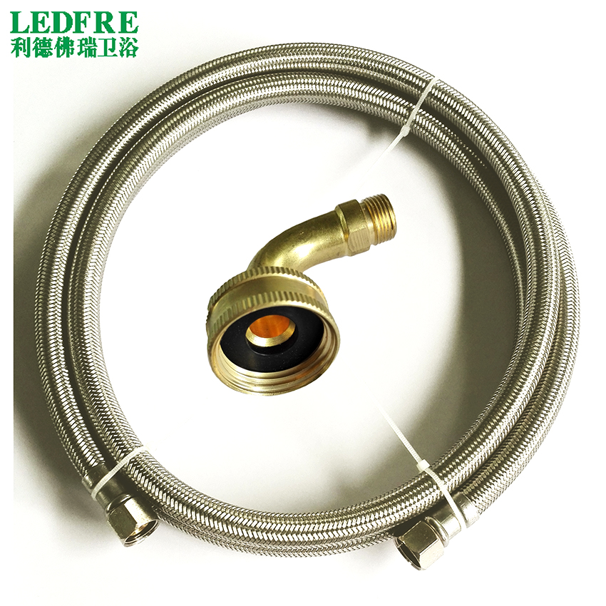 LF15014-72inch 3/8C*3/8C+Elbow Flexible SS Diswasher Connector & SS braided connector