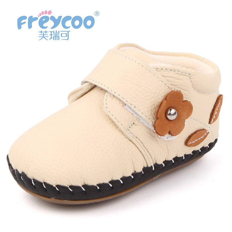 Freycoo 2018 Kids Shoes Winter Baby Toddler Lovely Girls Boys light Shoes Genuine Leather Warm Cotton Shoes1288