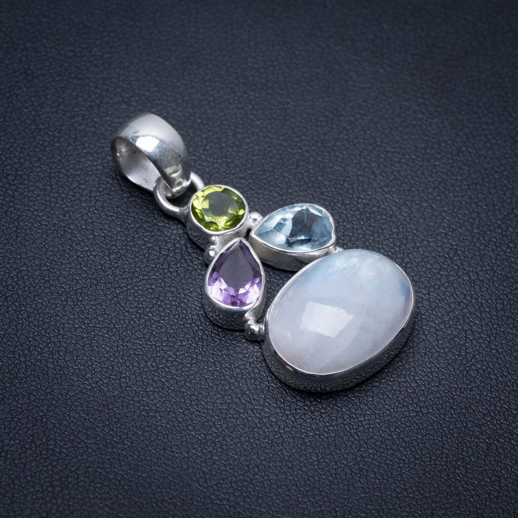 Natural Rainbow Moonstone,Blue Topaz,Amethyst and Peridot 925 Sterling Silver Pendant 1 1/2 S1169Natural Rainbow Moonstone,Blue Topaz,Amethyst and Peridot 925 Sterling Silver Pendant 1 1/2 S1169