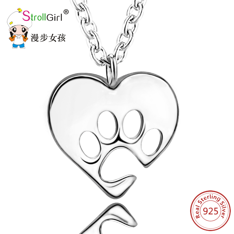Silver Love Heart Paw Necklace Girl 925 Sterling Silver Chain Dog Paw Love Heart Pendants & Necklaces For Women Fashion Jewelry original dropshipping my sweet pet paw love necklace girl 925 sterling silver pendant necklace for women fashion jewelry gifts
