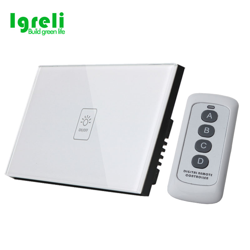 2018 Free shipping US standard remote control touch light switch wall touch switch 1 gang white crystal glass panel with LED home automation wall light switch eu standard 220v 3gang white crystal glass panel remote control touch light switch with led