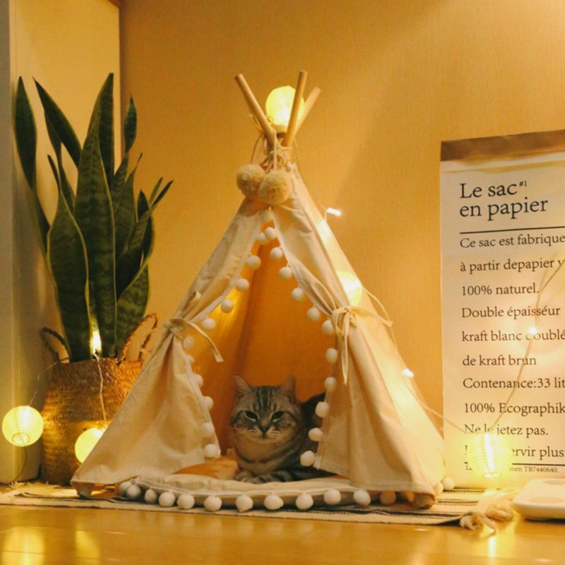 Beige Canvas Pom Pom Pet Teepee With Mat flower decorated kids headband with pom pom