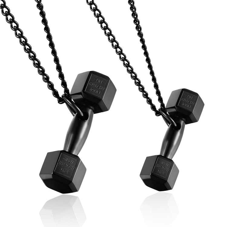 Fashion Black Dumbbell Barbell Pendant Sport Biker Stainless Steel Necklace for Men Couple Friends Jewelry