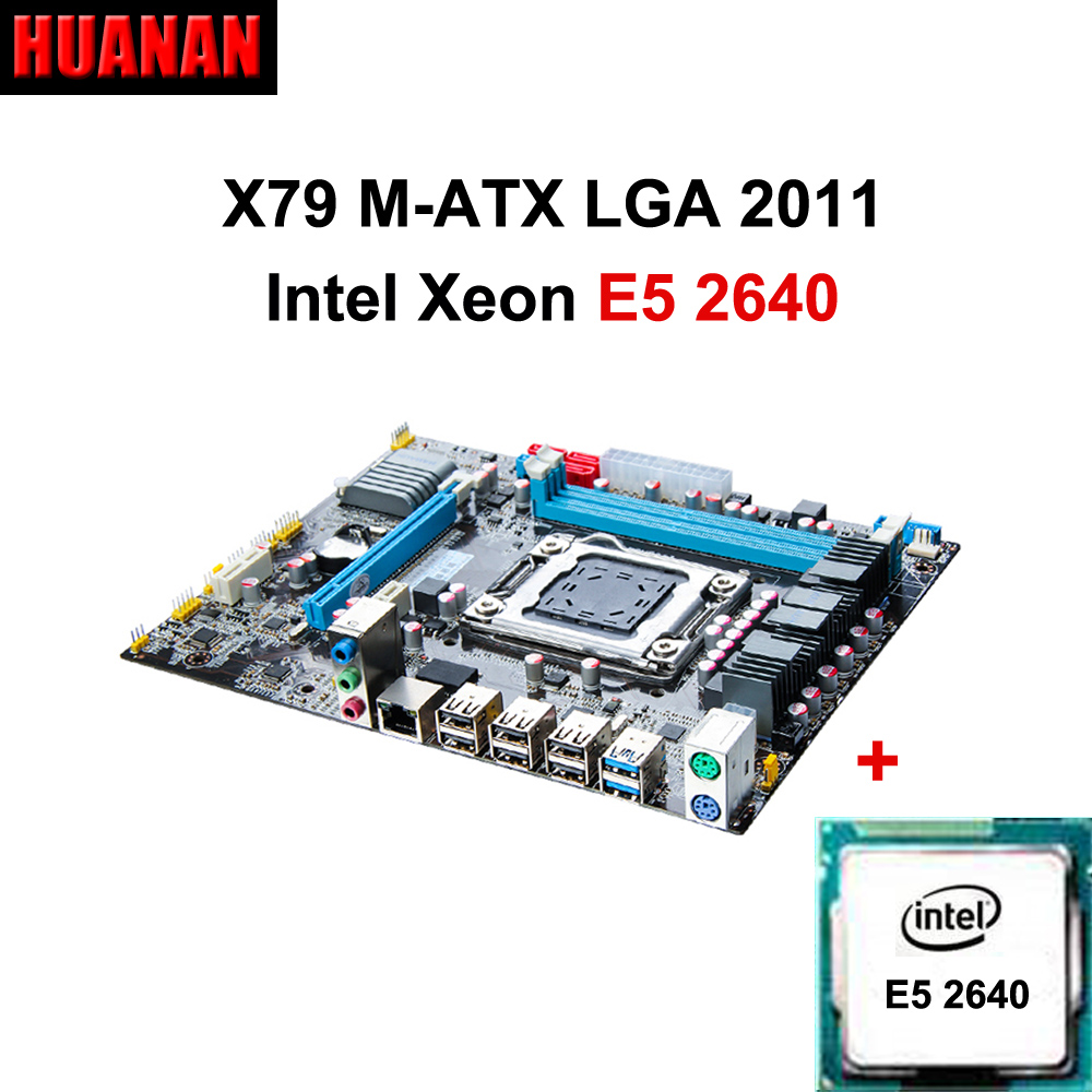 HUANAN X79 motherboard CPU combos X79 LGA 2011 motherboard Xeon E5 2640 CPU double channels support 2*8G at the most original e5 2670 cpu 20m cache 2 60 ghz 8 00 gt s intelqpi ga 2011 srokx c2 suitable x79 motherboard