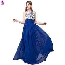 Royal Blue Chiffon Dress Long Bridesmaid Dresses 2017 Wedding Party Dresses Vestido De Festa Backlass Lace Bridesmaid Dress Gown