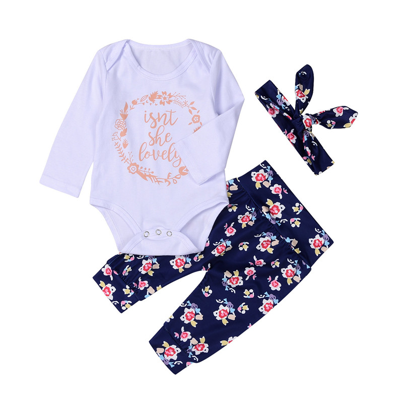 0683aca5cdc Best buy 3Pcs NewBorn Baby Girls Clothes Sets Floral printing Cotton  Costume Rompert+Pants+Scarf For Infant Clothing fashion online cheap
