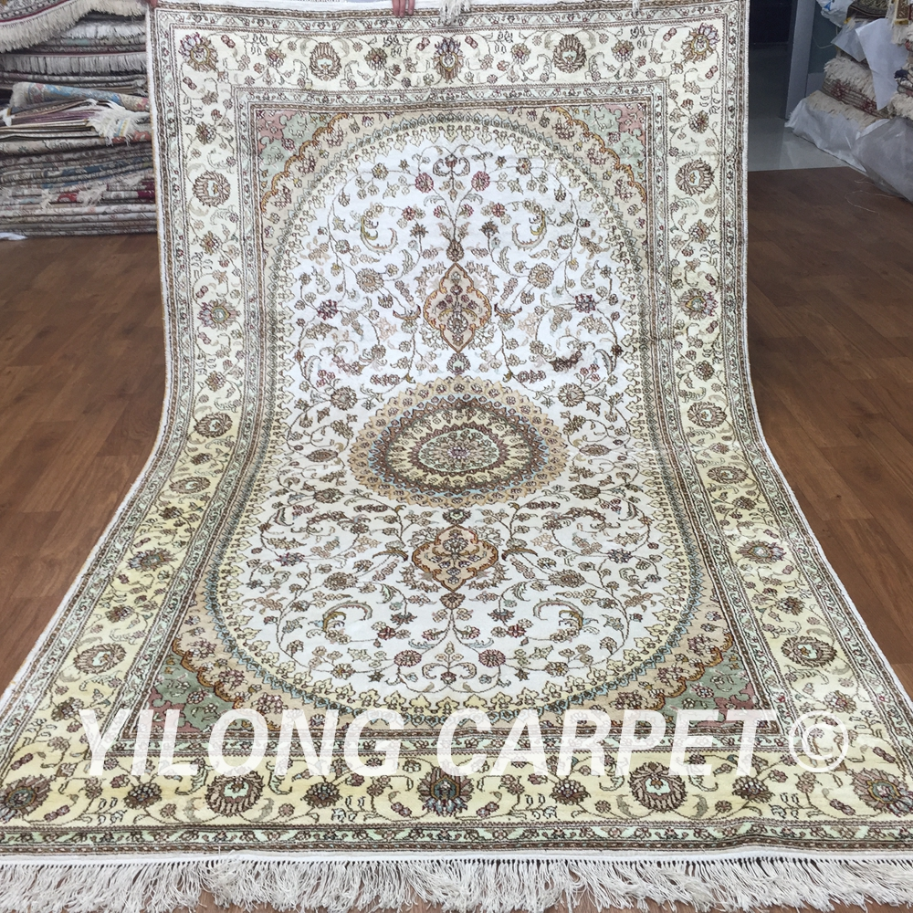 yilong home persian white oriental hand knotted qum silk rugs y359c 5x8 - 5x8 Rugs