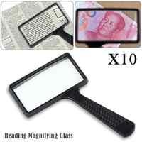 Portable Portable 10X haute définition Rectangle lecture Loupe verre lentille Loupe pour les personnes âgées lecture Loupe