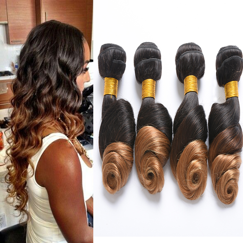 Ombre Brazilian Hair Loose Wave Cheap Brazilian Hair 4 Bundles Brazilian Virgin Hair Loose Wave 1B/27Brazilian Ombre Hair