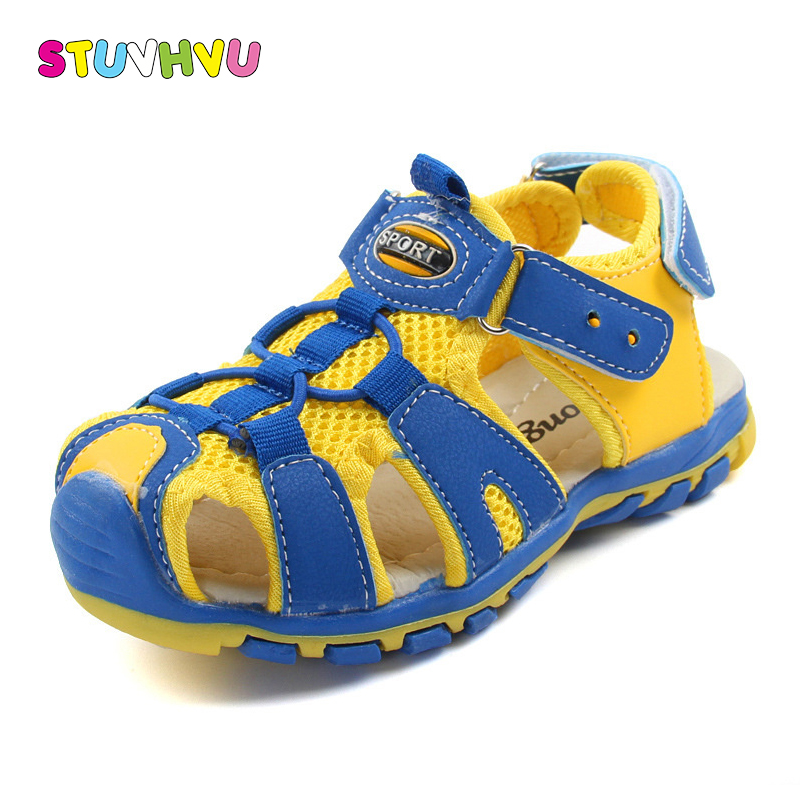 Brand boys beach shoes for kids 2018 summer closed toe sandals for girls children breathable soft leather sandals child footwear
