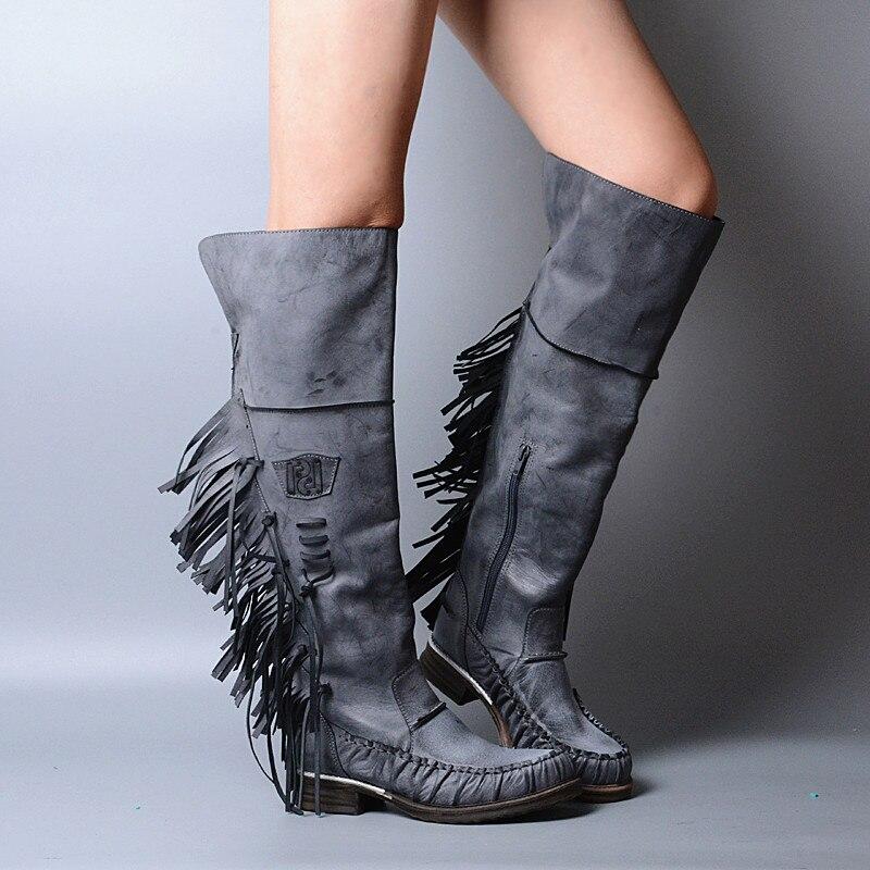 Promotion Vintage Round Toe Low Heel Botas Mujer Fringe Embellished Knee High Cowboy Boots Party Vocation Dress Shoes Women