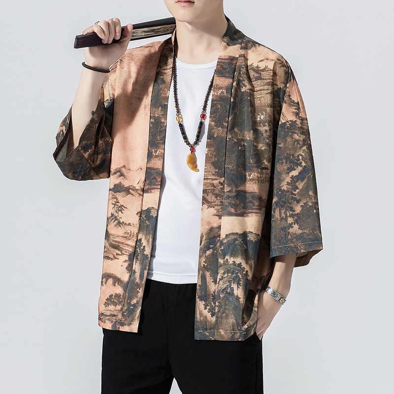 2019 Для мужчин хлопково-Льняная куртка Китай Стиль пальто кунгфу мужской свободное кимоно, кардиган, для детей куртка с открытым воротом Мужская ветровка 5XL